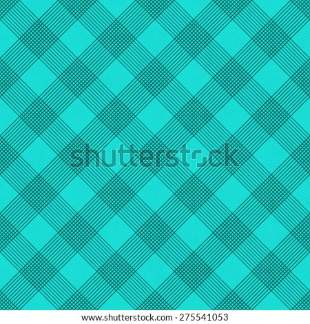 Teal Striped Gingham Tile Pattern Repeat Background that is seamless and repeats - stock photo