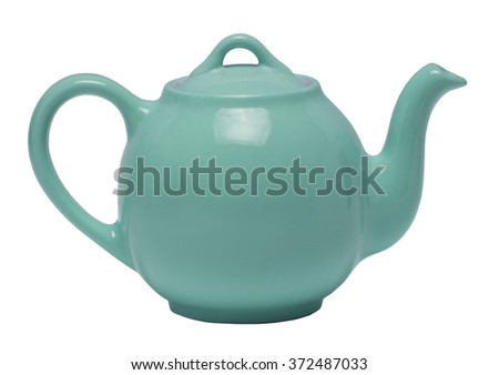 Teal teapot isolated against a white background - stock photo