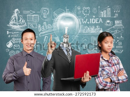 Team and Lamp head man with laptop and business team - stock photo