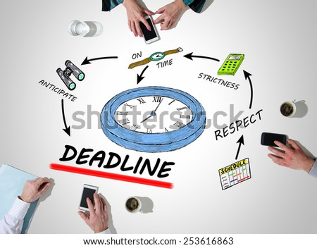 Team around the concept of deadline - stock photo