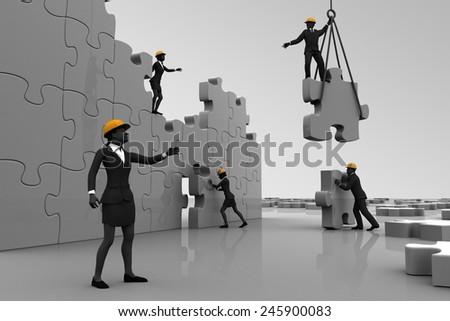 Team assembling jigsaw puzzle. A team working on a giant jigsaw puzzle project. - stock photo