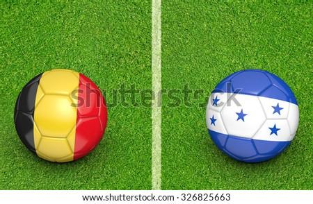 Team balls for Belgium vs Honduras soccer tournament match - stock photo