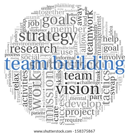 Team building concept in word tag cloud on white - stock photo