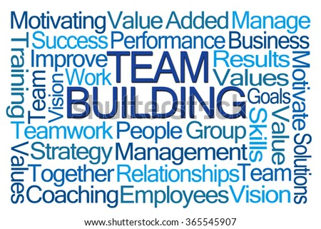 Team Building Word Cloud on White Background - stock photo