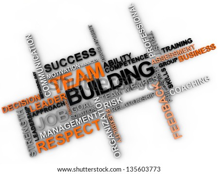 Team building word cloud over white background - stock photo
