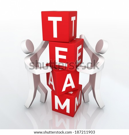 Team concept and place the cubes two people close-up) - stock photo