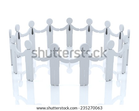 Team concept with empty white wall background above them  - stock photo