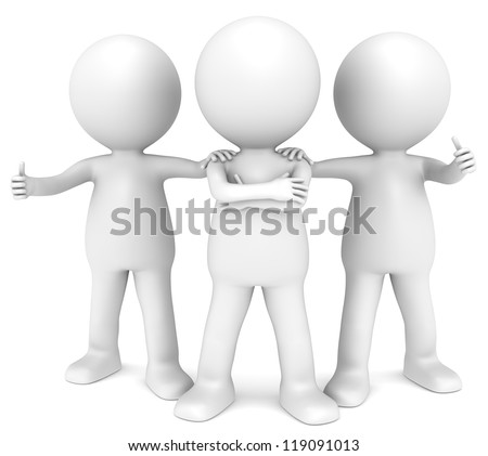 Team. 3D little human character x3 in a Confident pose. People series. - stock photo