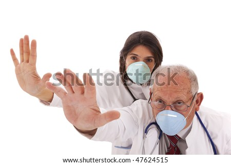 team doctors alerting you with a protection mask - stock photo