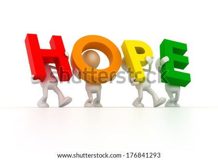 Team forming HOPE word - stock photo