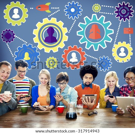 Team Functionality Industry Teamwork Connection Technology Concept - stock photo