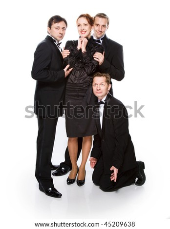 Team gentlemen and beautiful girl on a white - stock photo