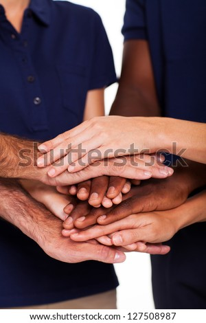 team hands together to form unity - stock photo