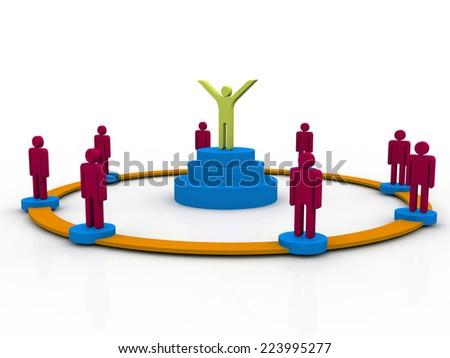 Team leader. Company boss. Teamwork. Concept 3D illustration - stock photo