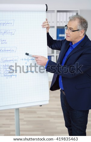 Team leader or manager giving a presentation or in house training standing in front of a flip chart pointing at handwritten notes as he explains something - stock photo