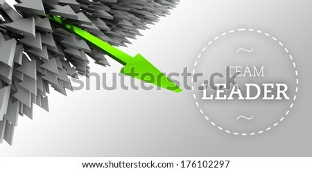 Team leader with arrow individuality concept - stock photo