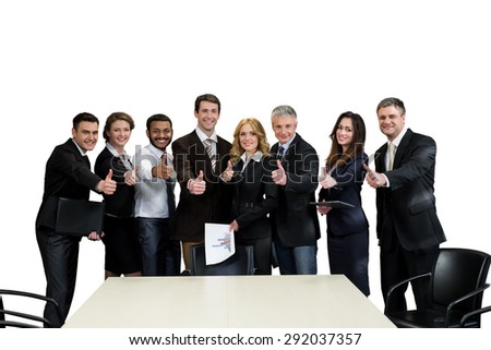 Team leaders. Top managers are on a white background.  - stock photo