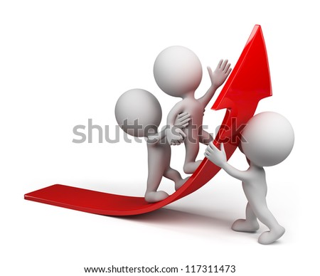 Team moves up on the red arrow.3d image. Isolated white background. - stock photo