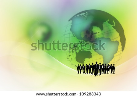 Team of business people with a global background. - stock photo