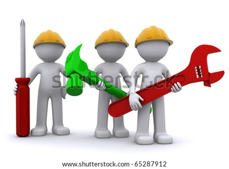 Team of construction worker with equipment. Isolated - stock photo