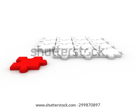 team of 3D white puzzles standing the red leader - stock photo