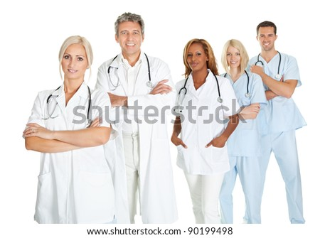 Team of doctors standing in line isolated on white background - stock photo