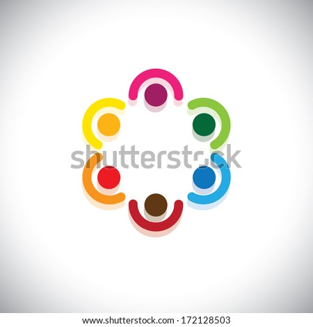 team of employees meeting in circle - teamwork concept illustration. This abstract graphic represents diversity & unity, sharing & support, community union, kids & children in school, etc - stock photo