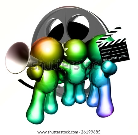 Team of movie maker icon figure with clap board and film reel objects - stock photo