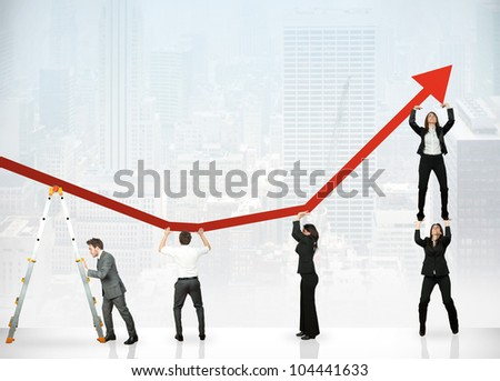 Team of people to save the corporate profit - stock photo