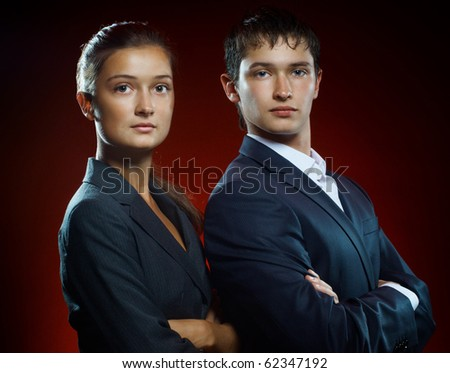 team of successful serious young business people - stock photo