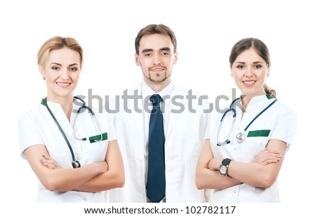 Team of young and smart medical workers isolated on white - stock photo