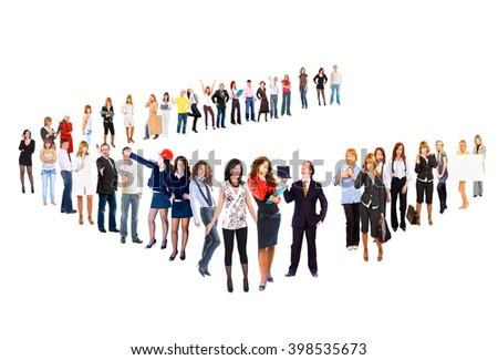 Team over White Achievement Idea  - stock photo