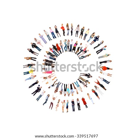 Team over White People Diversity  - stock photo