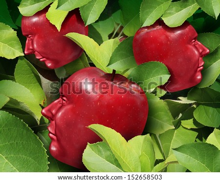 Team Planning as a business symbol for communication and cooperation success as a group of red apples in the shape of a human head growing together as a fruitful company partnership as an apple tree. - stock photo