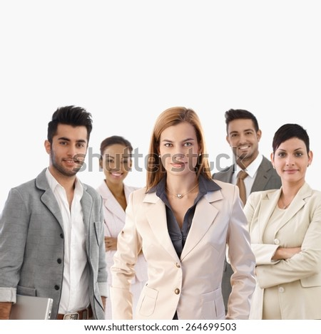 Team portrait of smiling young confident businesspeople. - stock photo
