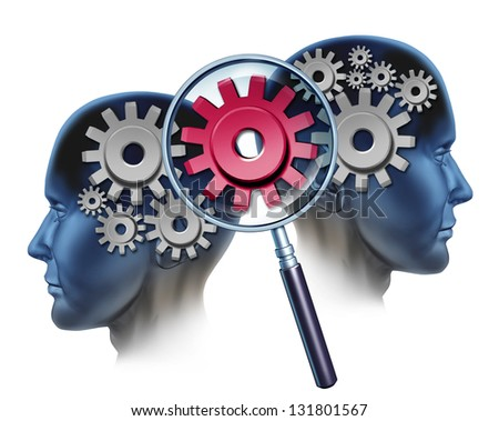 Team Solution and business partners success by cooperating and coming together to create  industry innovation as two people and a group of gears and cogs and a magnifying glass focused on a red one. - stock photo