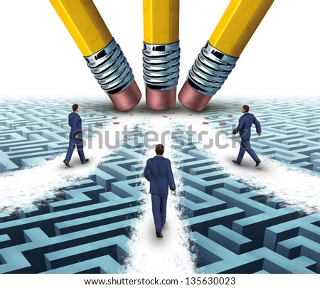 Team solutions with a group of business people walking over a clear path on a confusing maze or labyrinth that has been cleared by three pencil erasers as a teamwork business concept. - stock photo