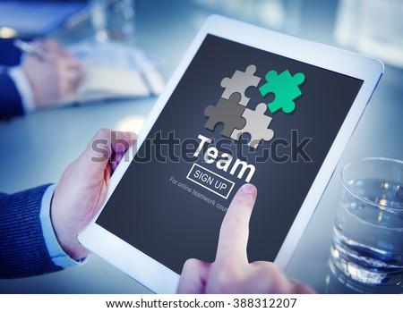 Team Teamwork Homepage Collaboration Concept - stock photo