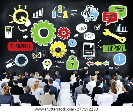Team Teamwork Support Success Collaboration Cog Unity Concept - stock photo