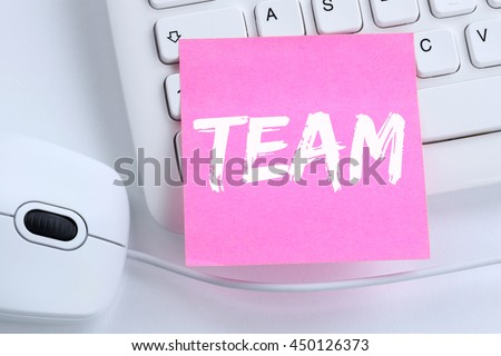 Team teamwork working together business concept office computer keyboard - stock photo