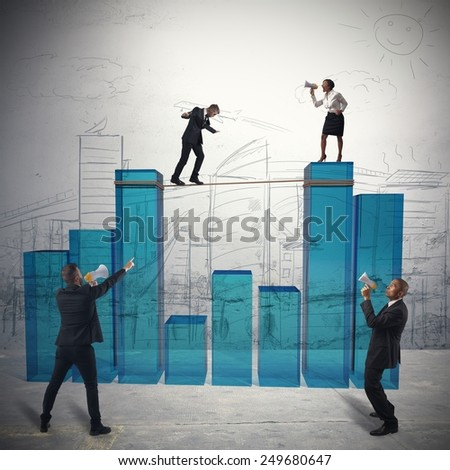 Team to action to increase corporate profits - stock photo
