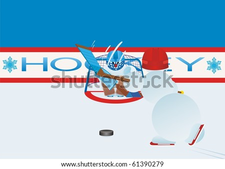 Team winter sport. Ice Hockey. Snowmen-hockey players - stock photo