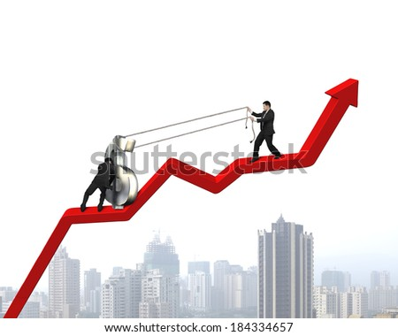 Team work for moving money symbol up on red arrow - stock photo