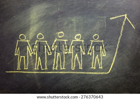 Team Work for Success Concept, drawn with Chalk on Blackboard - stock photo