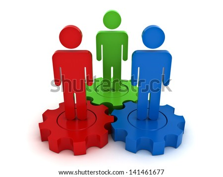 Team work on gears business concept on white background - stock photo