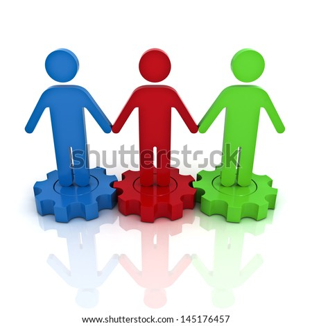 Team work on gears with reflection the business concept over white background - stock photo