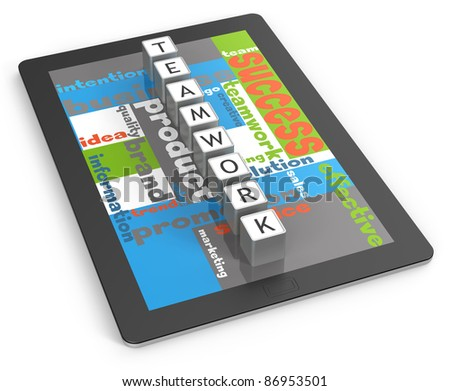 Team work on tablet computer - stock photo