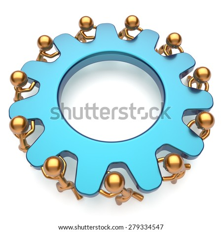 Team work unity partnership business men process workers turning gear together characters make hard job. Teamwork cooperation community workforce activism concept. 3d render isolated on white - stock photo