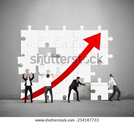 Team works together to raise the statistics - stock photo