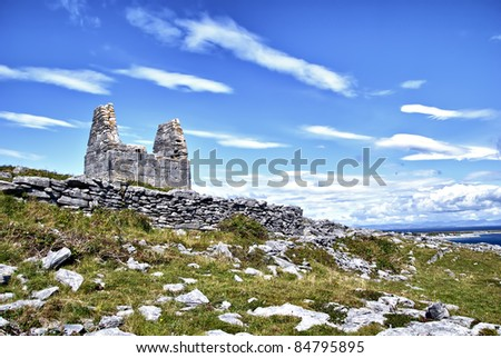 Teampall Bheanain (Church of Saint Benan) on Inis Mór Island, Ireland. Saint Benan was a contemporary of St. Patrick and his church is reputed to be the smallest in the world (3.7m * 1.8m). - stock photo
